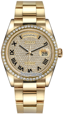 Rolex Day-Date 36mm Yellow Gold Diamond Bezel 118348 Pave Diamond Black Roman Oyster
