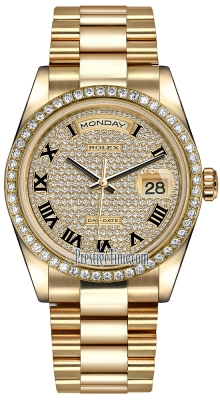 Rolex Day-Date 36mm Yellow Gold Diamond Bezel 118348 Pave Diamond Black Roman President
