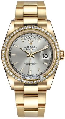Rolex Day-Date 36mm Yellow Gold Diamond Bezel 118348 Silver Index Oyster