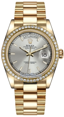 Rolex Day-Date 36mm Yellow Gold Diamond Bezel 118348 Silver Index President