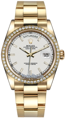 Rolex Day-Date 36mm Yellow Gold Diamond Bezel 118348 White Index Oyster