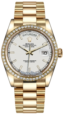 Rolex Day-Date 36mm Yellow Gold Diamond Bezel 118348 White Index President