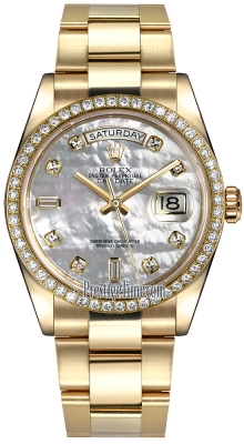 Rolex Day-Date 36mm Yellow Gold Diamond Bezel 118348 White MOP Diamond Oyster