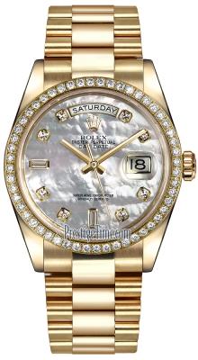 Rolex Day-Date 36mm Yellow Gold Diamond Bezel 118348 White MOP Diamond President
