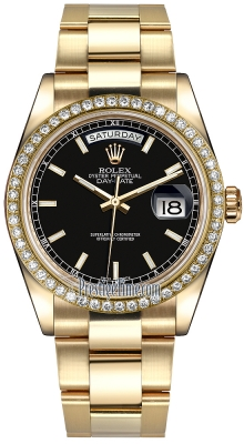 Rolex Day-Date 36mm Yellow Gold Diamond Bezel 118348 Black Index Oyster
