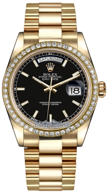 Rolex Day-Date 36mm Yellow Gold Diamond Bezel 118348 Black Index President