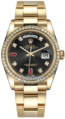 Rolex Day-Date 36mm Yellow Gold Diamond Bezel 118348 Black Diamond Ruby Oyster