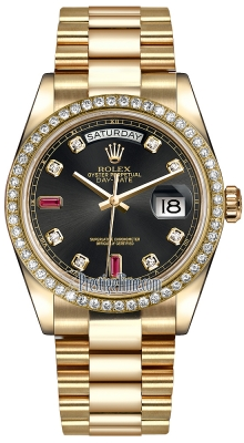 Rolex Day-Date 36mm Yellow Gold Diamond Bezel 118348 Black Diamond Ruby President