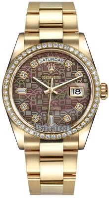 Rolex Day-Date 36mm Yellow Gold Diamond Bezel 118348 Black MOP Jubilee Diamond Oyster