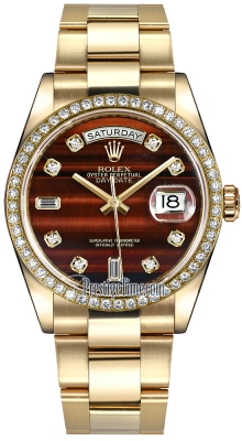 Rolex Day-Date 36mm Yellow Gold Diamond Bezel 118348 Bulls Eye Diamond Oyster