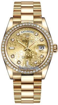Rolex Day-Date 36mm Yellow Gold Diamond Bezel 118348 Champagne Jubilee Diamond President
