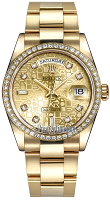 Rolex Day-Date 36mm Yellow Gold Diamond Bezel 118348 Champagne Jubilee Diamond Oyster