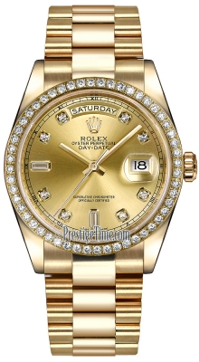 Rolex Day-Date 36mm Yellow Gold Diamond Bezel 118348 Champagne Diamond President