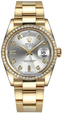 Rolex Day-Date 36mm Yellow Gold Diamond Bezel 118348 Silver Diamond Oyster