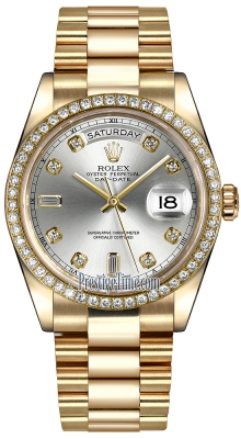 Rolex Day-Date 36mm Yellow Gold Diamond Bezel 118348 Silver Diamond President
