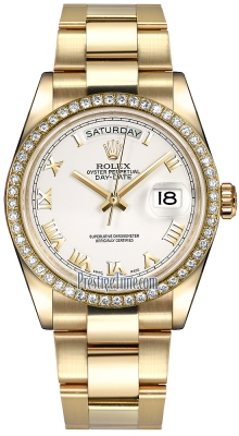 Rolex Day-Date 36mm Yellow Gold Diamond Bezel 118348 White Roman Oyster