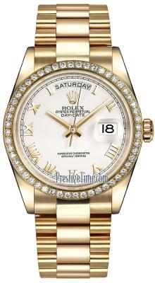 Rolex Day-Date 36mm Yellow Gold Diamond Bezel 118348 White Roman President