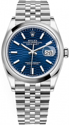 Rolex Datejust 36mm Stainless Steel 126200 Bright Blue Fluted Jubilee
