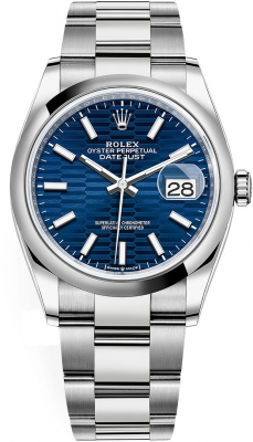 Rolex Datejust 36mm Stainless Steel 126200 Bright Blue Fluted Oyster
