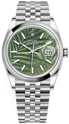 Rolex Datejust 36mm Stainless Steel 126200 Olive Green Palm Jubilee
