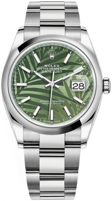 Rolex Datejust 36mm Stainless Steel 126200 Olive Green Palm Oyster
