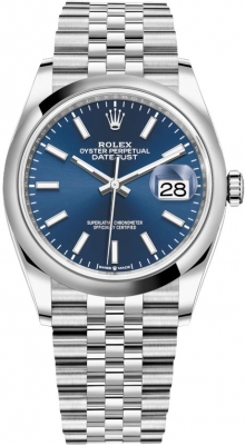 Rolex Datejust 36mm Stainless Steel 126200 Blue Index Jubilee