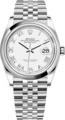 Rolex Datejust 36mm Stainless Steel 126200 White Roman Jubilee