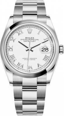 Rolex Datejust 36mm Stainless Steel 126200 White Roman Oyster