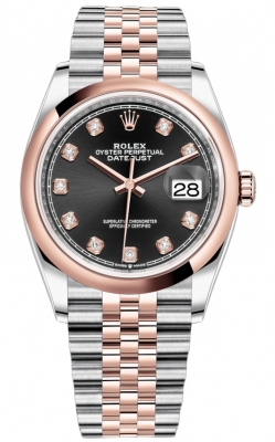 Rolex Datejust 36mm Stainless Steel and Rose Gold 126201 Black Diamond Jubilee