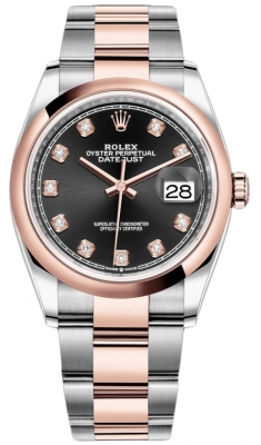Rolex Datejust 36mm Stainless Steel and Rose Gold 126201 Black Diamond Oyster