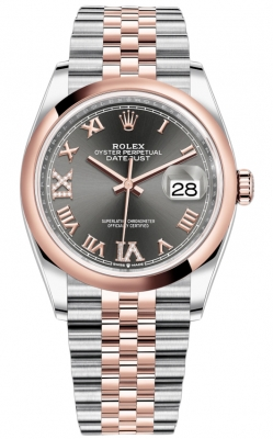 Rolex Datejust 36mm Stainless Steel and Rose Gold 126201 Dark Rhodium VI IX Roman Jubilee