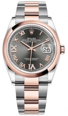 Rolex Datejust 36mm Stainless Steel and Rose Gold 126201 Dark Rhodium VI IX Roman Oyster