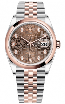Rolex Datejust 36mm Stainless Steel and Rose Gold 126201 Jubilee Chocolate Diamond Jubilee