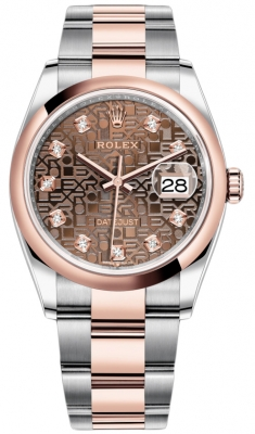 Rolex Datejust 36mm Stainless Steel and Rose Gold 126201 Jubilee Chocolate Diamond Oyster