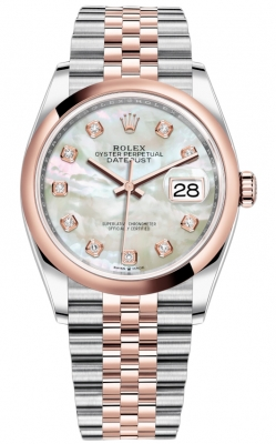 Rolex Datejust 36mm Stainless Steel and Rose Gold 126201 MOP Diamond Jubilee