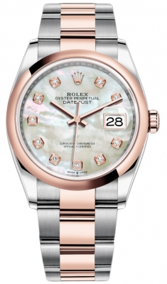 Rolex Datejust 36mm Stainless Steel and Rose Gold 126201 MOP Diamond Oyster