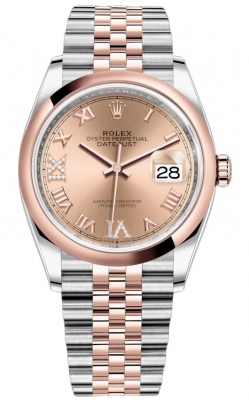Rolex Datejust 36mm Stainless Steel and Rose Gold 126201 Rose VI IX Roman Jubilee