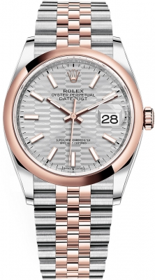 Rolex Datejust 36mm Stainless Steel and Rose Gold 126201 Silver Fluted Jubilee