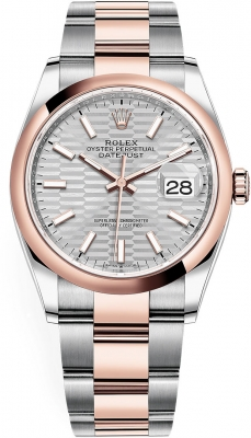 Rolex Datejust 36mm Stainless Steel and Rose Gold 126201 Silver Fluted Oyster