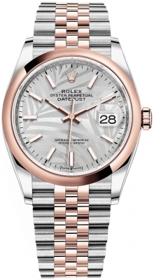 Rolex Datejust 36mm Stainless Steel and Rose Gold 126201 Silver Palm Jubilee
