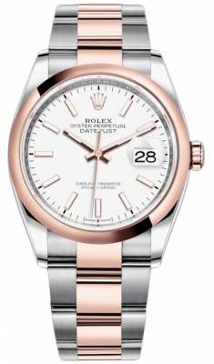 Rolex Datejust 36mm Stainless Steel and Rose Gold 126201 White Index Oyster