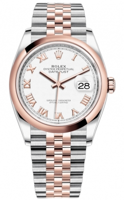Rolex Datejust 36mm Stainless Steel and Rose Gold 126201 White Roman Jubilee
