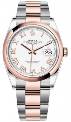 Rolex Datejust 36mm Stainless Steel and Rose Gold 126201 White Roman Oyster