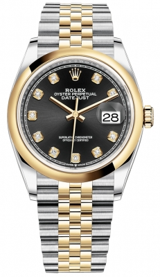 Rolex Datejust 36mm Stainless Steel and Yellow Gold 126203 Black Diamond Jubilee