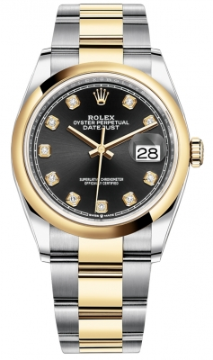 Rolex Datejust 36mm Stainless Steel and Yellow Gold 126203 Black Diamond Oyster