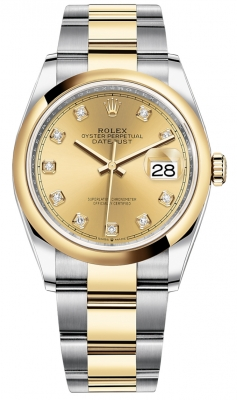 Rolex Datejust 36mm Stainless Steel and Yellow Gold 126203 Champagne Diamond Oyster