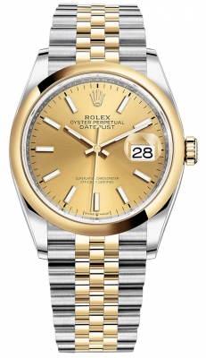 Rolex Datejust 36mm Stainless Steel and Yellow Gold 126203 Champagne Index Jubilee