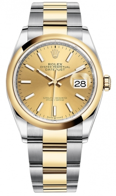 Rolex Datejust 36mm Stainless Steel and Yellow Gold 126203 Champagne Index Oyster