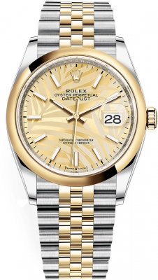 Rolex Datejust 36mm Stainless Steel and Yellow Gold 126203 Champagne Palm Jubilee