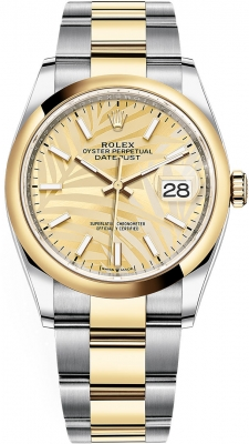 Rolex Datejust 36mm Stainless Steel and Yellow Gold 126203 Champagne Palm Oyster